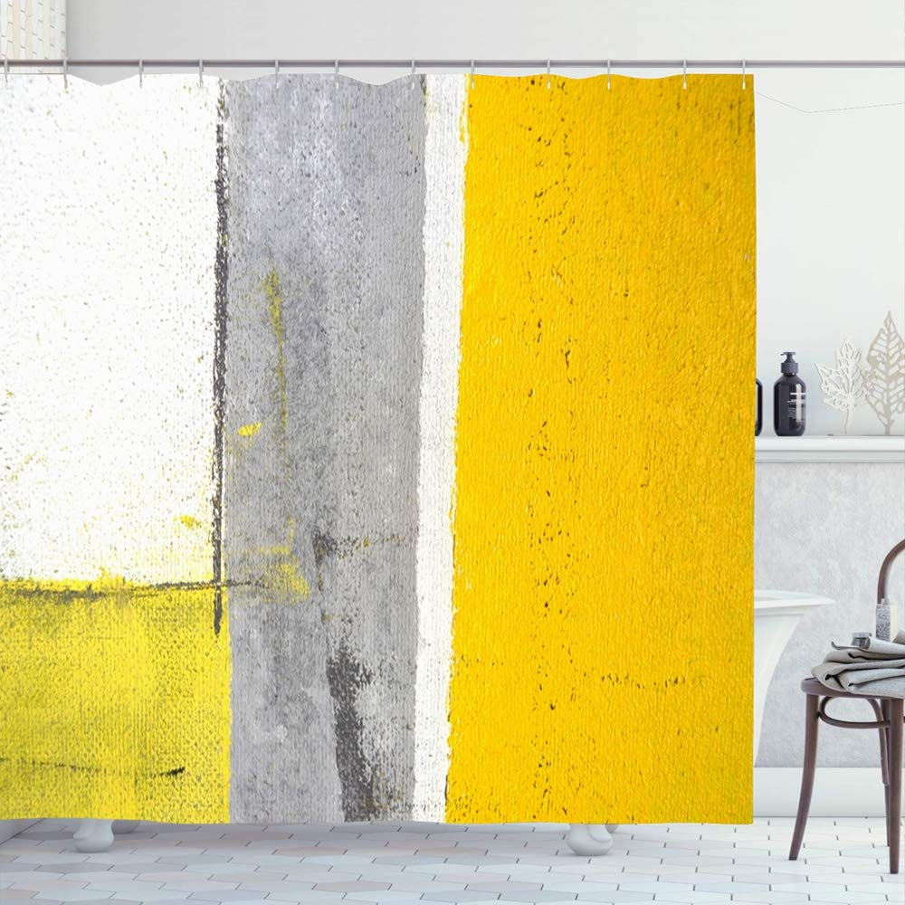 Shower Curtain Set with Hooks 72x78 Grey Textured Yellow Modern Gallery Lines Squares Painting Abstract Stylish Design Trendy