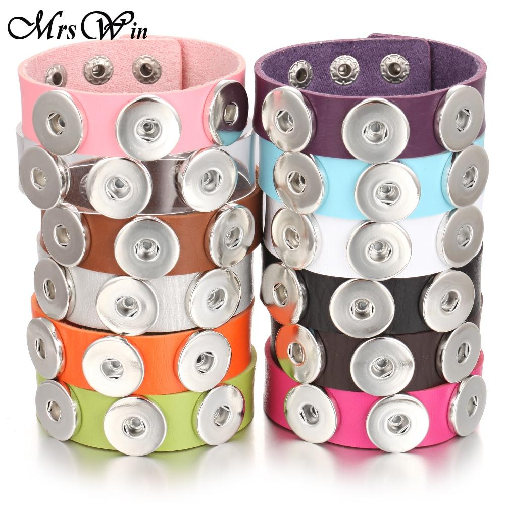 New Snap Jewelry Punk Mens 18mm Leather Snap Bracelet Three Buttons Snap Button Bracelet Bangle Wide Wrap Bracelets