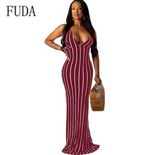 FUDA Off Shoulder Strapless Sexy Women Dress Sleeveless Long Bodycon Backless Casual Summer Party Maxi Dresses