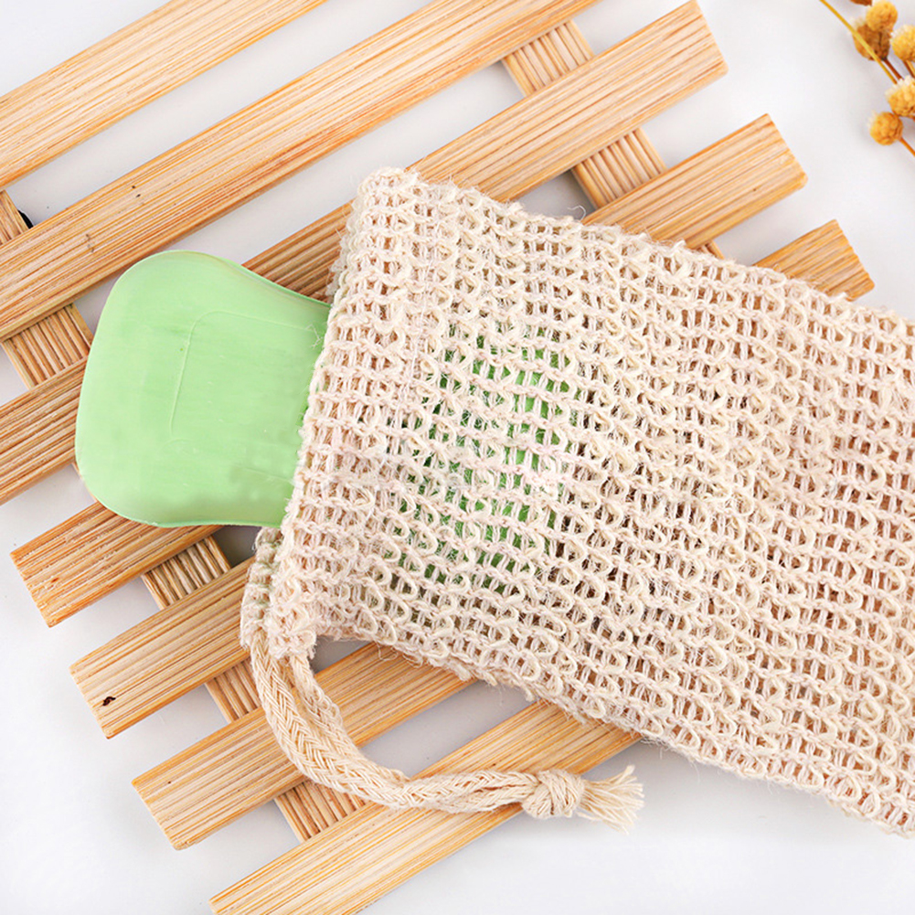 1PC Cotton Linen Soap Foaming Net  Shower Exfoliator Sponge Pouch Comfortable Blister Mesh Soap Saver Bag Foaming Net New M6