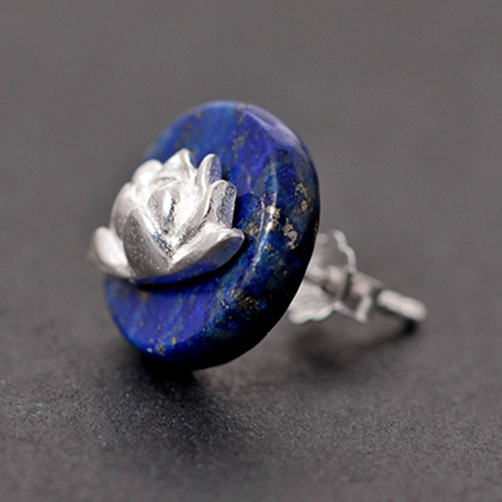 S925 Silver Ethnic Wind Small Lotus Inlaid Natural Lapis Lazuli Stud Earrings Vintage Chinese Style Earrings Silver in Stud Earrings from Jewelry Accessories