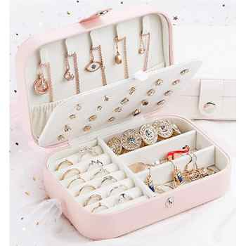 1pc Portable Simple Storage Box Multifunctional Two Layers Container For Women Travel Small PU Leather Jewelry Case - DISCOUNT ITEM  57 OFF Home & Garden