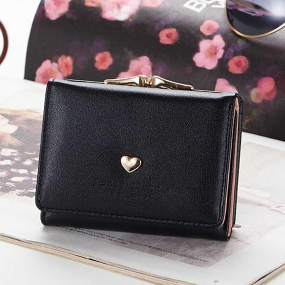 Женский кошелек на застежке, портативный, с сердечком, металлический каркас из искусственной кожи, три сложения, клатч, кошелек, мини короткий держатель для карт, карман для монет
