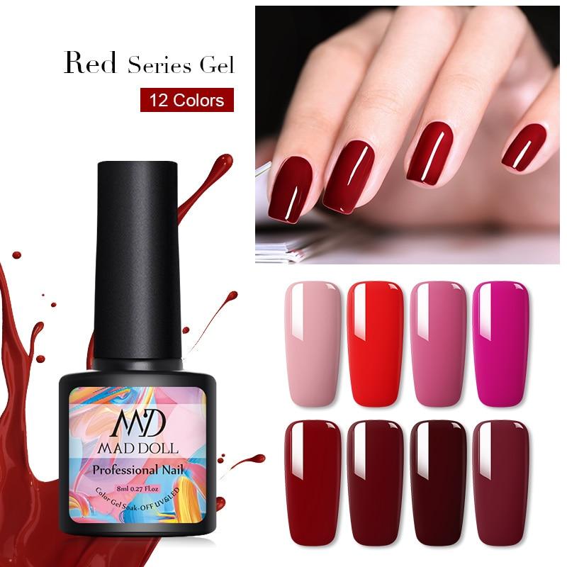MAD DOLL Red Series Gel Nail Polish 8ml  Nail Color Soak Off UV Gel Nail Polish Varnish Semi Permanent Manicur Lacque