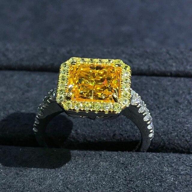 Wong Rain Luxury 925 Sterling Silver 2 CT Radiant Cut Created Moissanite Gemstone Diamonds Wedding Engagement Ring Fine Jewelry 4