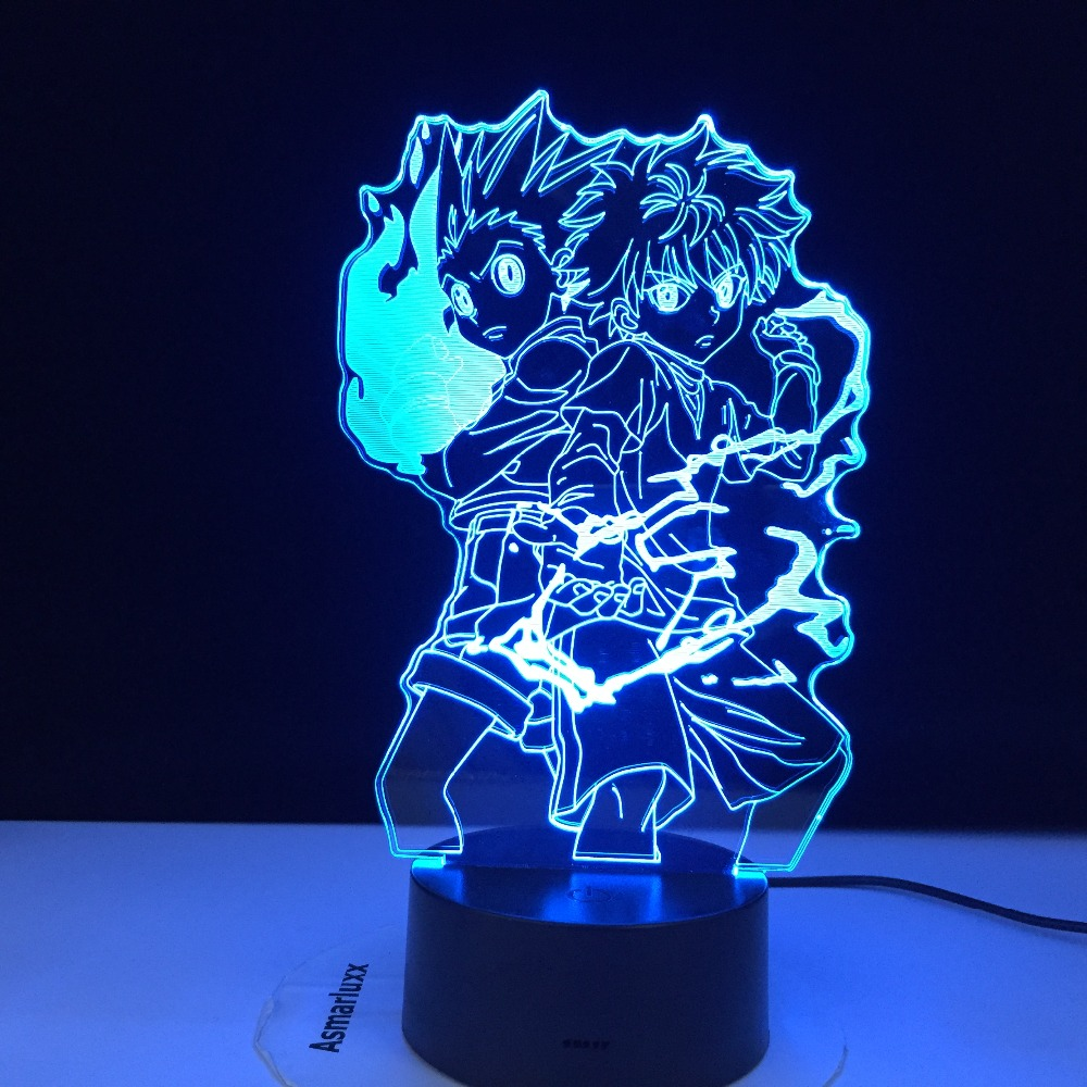 3d Lamp Anime HUNTER x HUNTER Gon and Killua Figure Nightlight for Child Bedroom Decor Light Fans Gift Kids Led Night Light