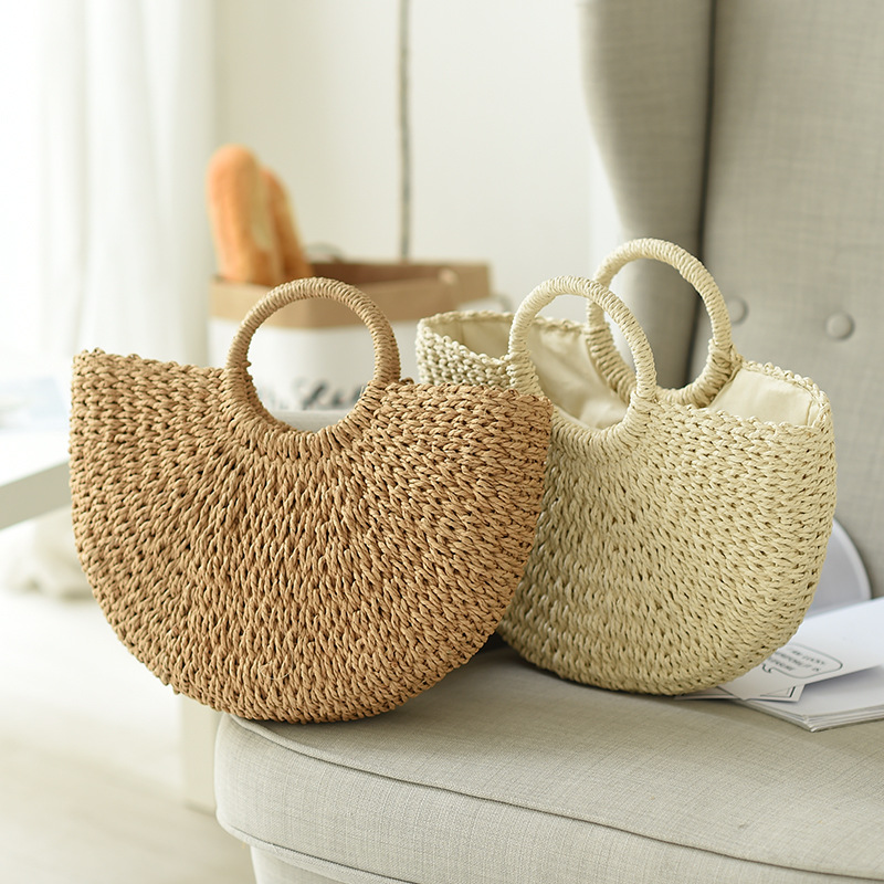 Summer Handmade Bags for Women Beach Weaving Ladies Straw Bag Wrapped Beach Bag Moon shaped Top