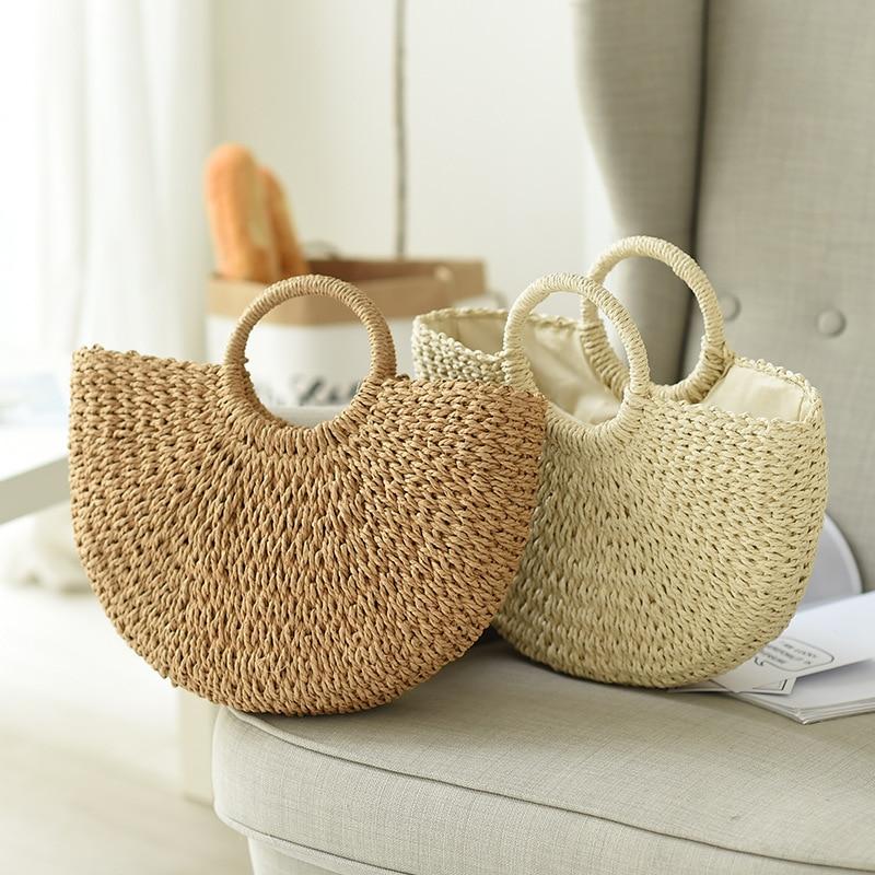 Verão sacos artesanais para as senhoras de tecelagem praia saco de palha envolto saco de praia lua em forma superior lidar com bolsas totes
