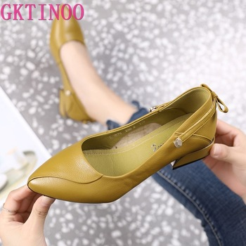 GKTINOO Brand Shoes Thick Heel Ladies Pumps Genuine Leather Pointed Toe Colorful Square Heels Party Handmade Shoes Women brand designer women pumps new genuine leather square high heels black white red shoes woman mary janes dress party shoes size43
