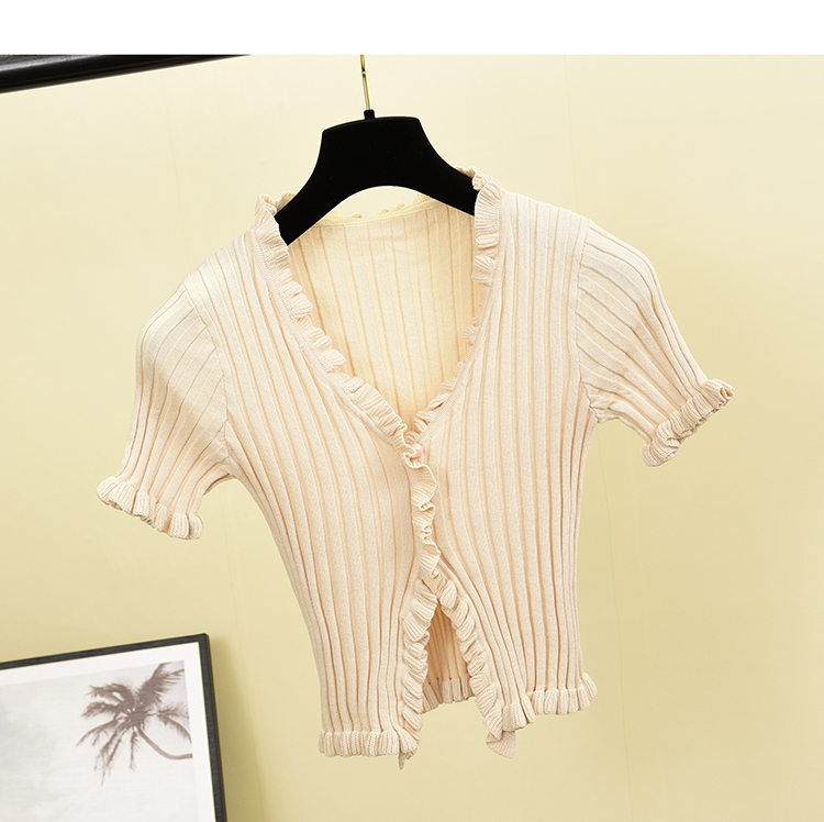 H20772f92bc064c71a5e41cc6990e491cr - Vintage V Neck Ruffles Ladies Slim Summer Knit T-Shirt Casual Women T Shirt Top Tee Harajuku Crop Thin Short Sleeve Cardigan