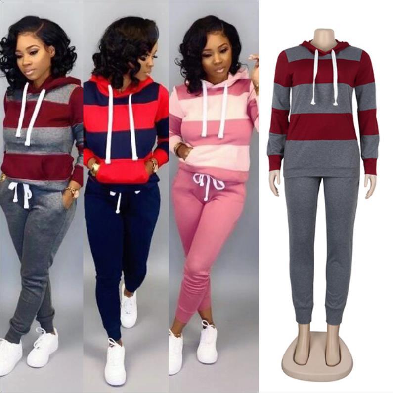 Women Winter Women's set Tracksuit Full Sleeve Hoodied Sweatshirt Pockets Pants Suit Two Piece Set Outfits sweatsuit S-XXXL