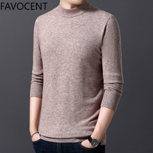 New Sweater Mens Pullovers Half Turtleneck Slim Fit Jumpers Knitwea Casual Clothing Male Fashion Brand Distressed Sweater Solid