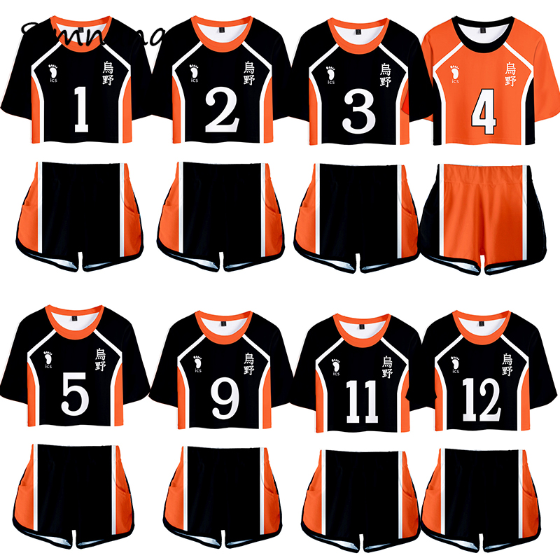 Haikyuu Cosplay Costume Hinata Shoyo chemise Shorts Nishinoya Yuu uniforme sport Karasuno Koukou lycée volley-ball Club femmes