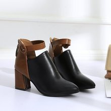Fashion Women Boots Spring Autumn High Heels Shoes For Female Rivet Buckle Daily Shoes Martin Short Boots Pu Leather Ankle Boots morazora boots female cow suede fashion shoes zip solid leather boots spring autumn med heels shoes ankle boots for women