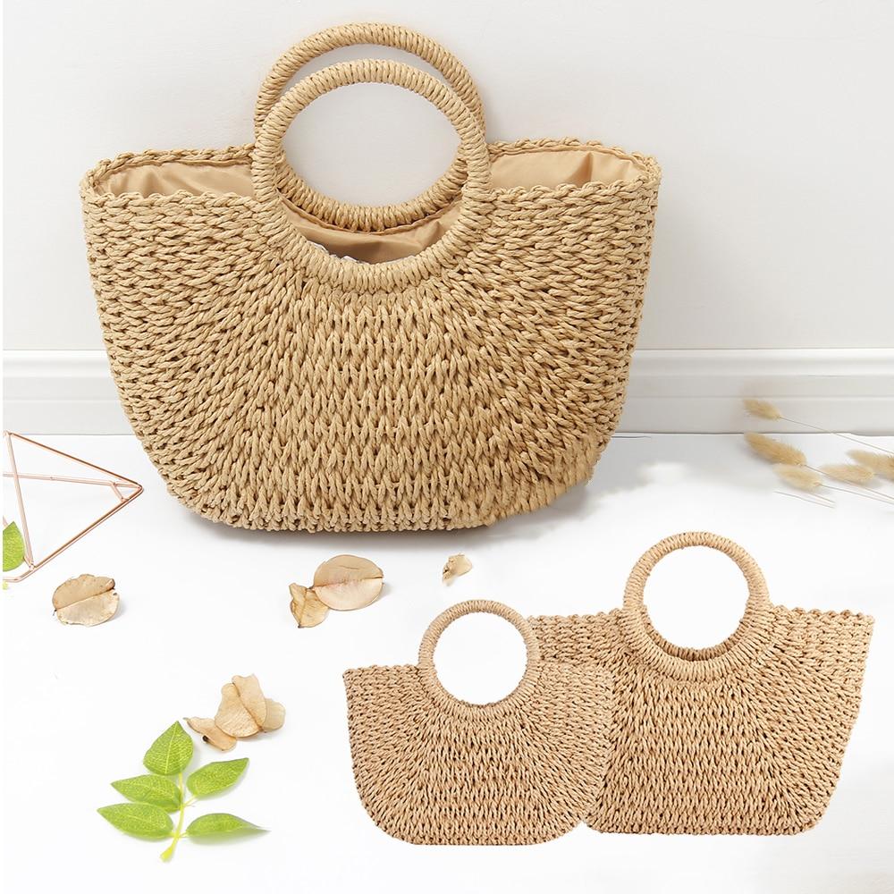 Moon Beach Bags Summer Bali Rattan Bags For Women Vintage Woven Bag Bohemia Handbag Bolsos Mimbre