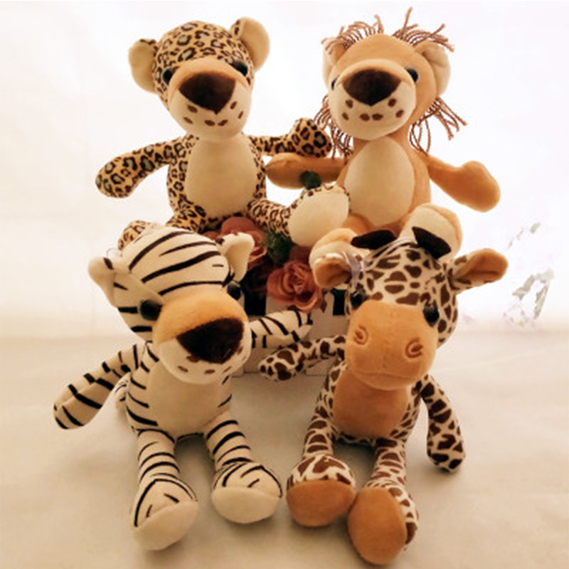 12cm Jungle Brother Tiger Elephant Lion Giraffe Plush Toys Stuffed Animal Doll Toys For Children Kids Gift Peluche Soft Toys