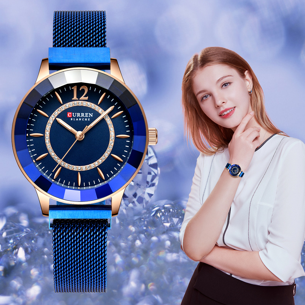 CURREN New Rhinestone Fashion Quartz Mesh Steel Watch For Women Causal Blue Ladies Watch Bayan Kol Saati Classy Luxury Clock