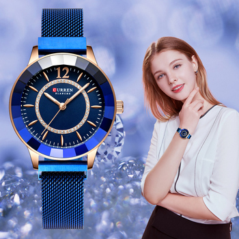 CURREN New Rhinestone Fashion Quartz Mesh Steel Watch for Women Causal Blue Ladies Watch bayan kol saati Classy Luxury Clock