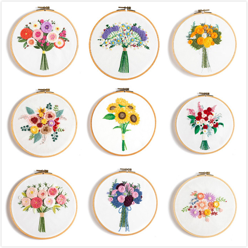 DIY Flower Pattern Embroidery Kits for Beginner Needlework Cross Stitch Handmade Sewing Craft Wall Painting Art Home Decor