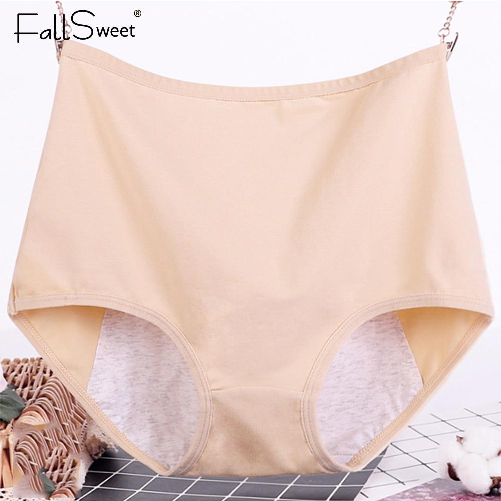 FallSweet artı boyutu dönem külot seksi iç çamaşırı kadın yüksek bel sızdırmaz Menstrual külot 6XL