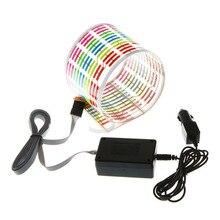Автомобильный декоративный светильник RGB светодиодный музыкальный Ритм вспышка светильник Датчик звуковой активации эквалайзер наклейка на заднее лобовое стекло Стайлинг неоновая лампа