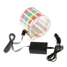 цена на Car Decorative Light RGB LED Music Rhythm Flash Light Sound Activated Sensor Equalizer Rear Windshield Sticker Styling Neon Lamp