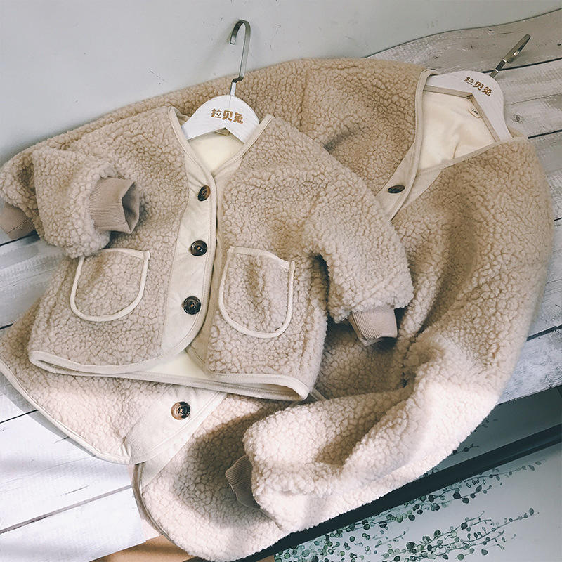 MILANCEL Family Outfit Warm Mother And Daughter Clothes Mommy And Me Fur Coat Thicken Lining Coat For Girls
