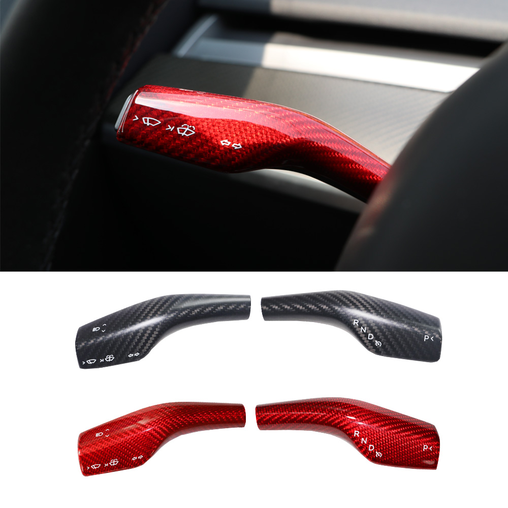 Car Stying Real Carbon Fiber Column Shift Protective Cover For Tesla Model 3 Model Y 2017 2018 2019 2020 Accessories