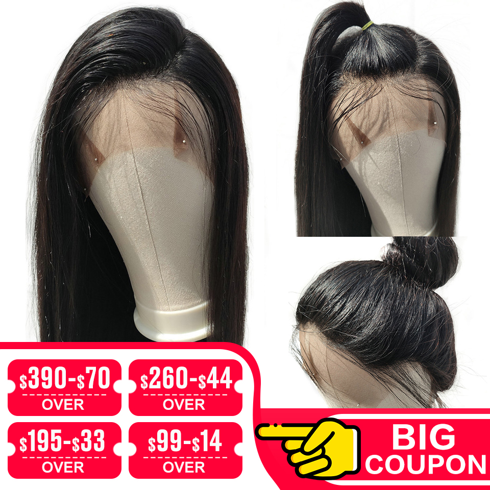 EMOL 13x4 Lace Front Human Hair Wig Straight Pre Plucked Hairline Baby Hair 150% Brazilian Straight Remy Human Hair Lace Wig
