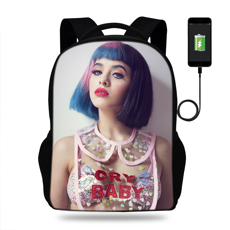 17inch Melanie Martinez Print Backpack Women USB Port Backpacks For Teenager Girls Cry Baby School Bags Laptop Daily Backpacks