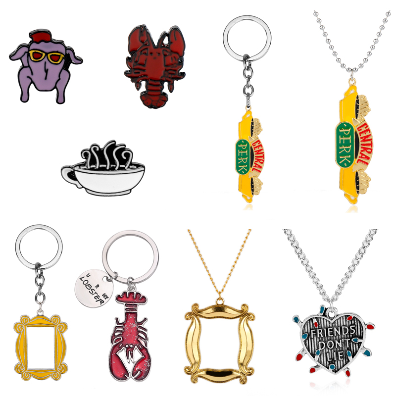 TV Show Friends Monica's Door Lobster Keychain Central Perk Coffee Time Pendant Necklace Photo Frame Key Chains Best Friend Gift image