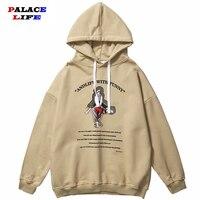 Hip Hop Hoodie Mens Streetwear Pullover Goat Retro Funny Print Sweatshirt Loose Vintage Cotton Fleece Tops Sweatshirt apricot