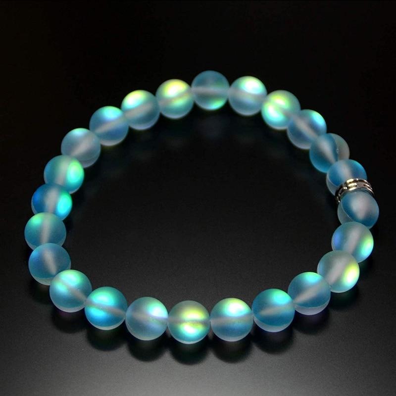 Mermaid Glass Crystal Moonstone Bracelets Multicolor Matte Shining Stone Beaded Charm Bracelet Handmade Wristband Gifts Jewelry