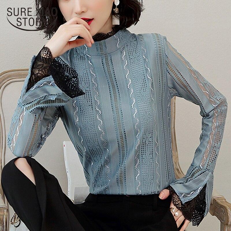 women shirts solid blouses blusas mujer de moda 2019 women long sleeve lace shirts ladies blouses blusas elegantes 5430 50