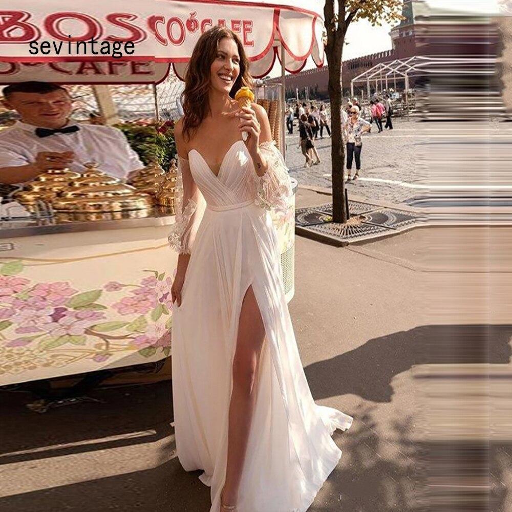 Vestidos Novia Cortos Hot Sale Beach Wedding Dress Short Sleeves Sexy Sweetheart  Bridal Dress Backless Boho Cheap Wedding Gowns