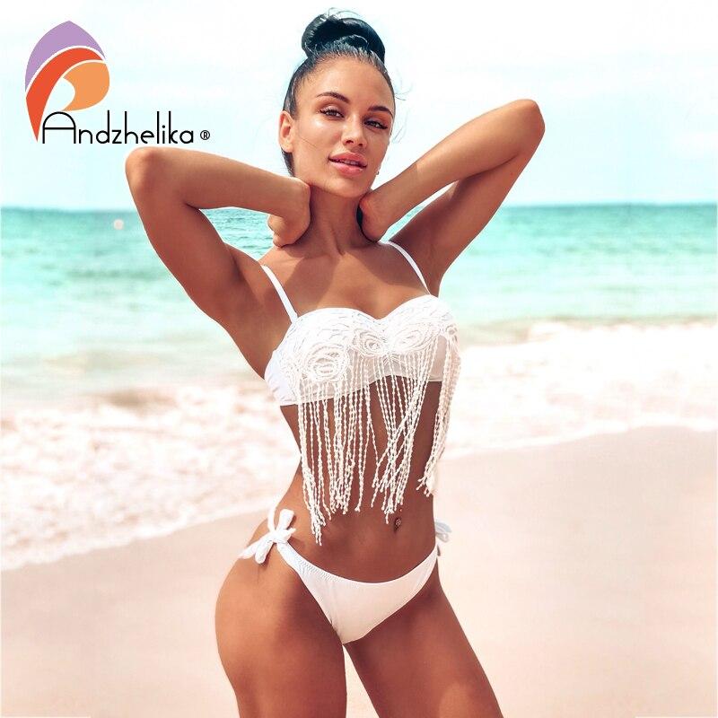 Andzhelika Lace Flower Tassel Bikinis Women Swimsuit Push Up Bikini Set 2021 Summer Low Waist Swimwear Brazilian Bathing Suit