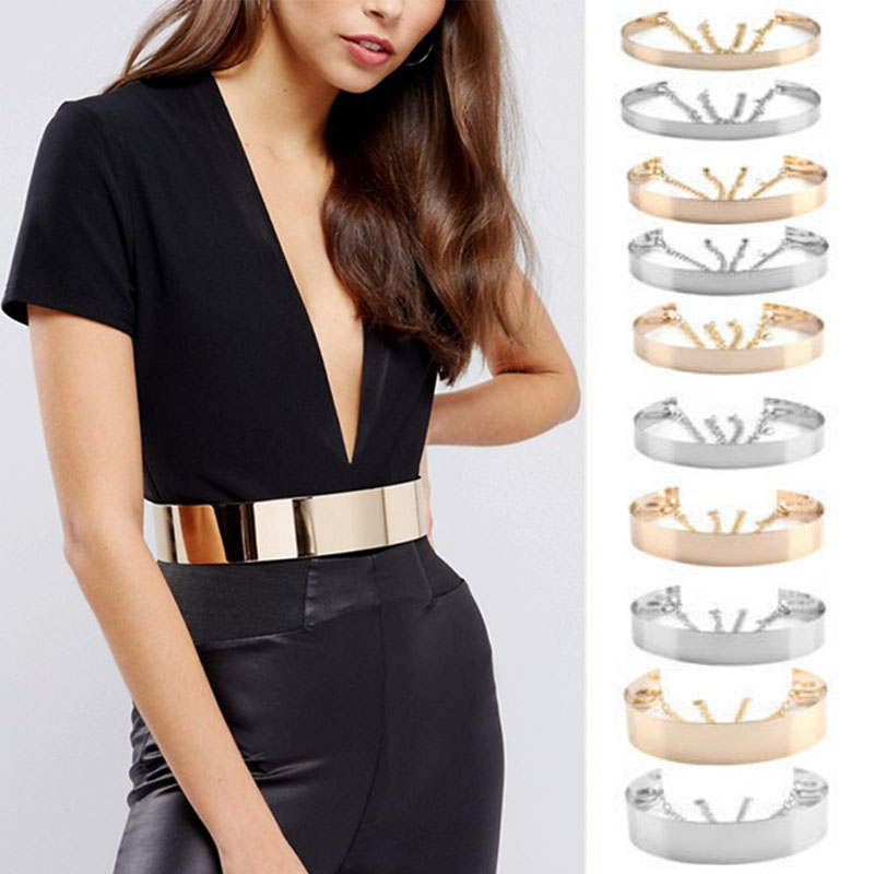 Adjustable Belts 2019 Fashion Women Full Metal Waist Mirror Wide Gold Silver Plate Waistband Chains Belt