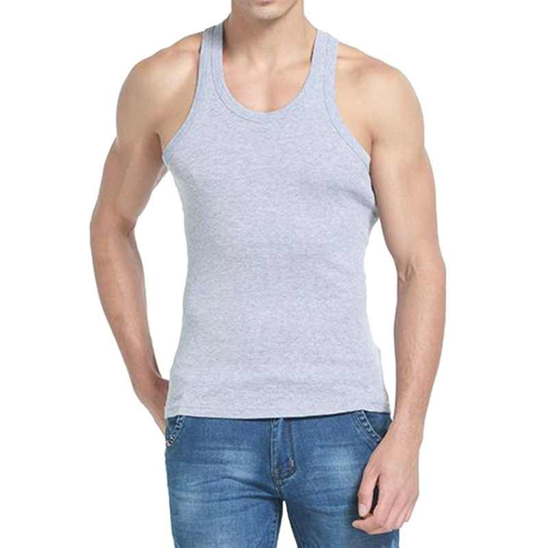 DIHOPE Men Slim Solid Sleeveless Undershirt Boy Summer Cotton Fitness Mulitcolor Vest Thermal Tights High Flexibility Tank Tops