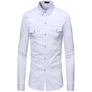 Image 5 - Plus size mens long sleeve shirt with lapel collar in autumn 2019