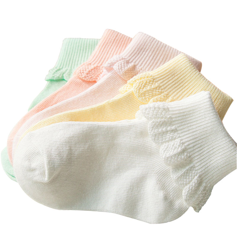 5 Pairs/lot Cute Baby Girl Cotton Ruffle Socks Newborn Breathable Princess Lace Short Sock Lot For Baby Girls Clothing Accessory