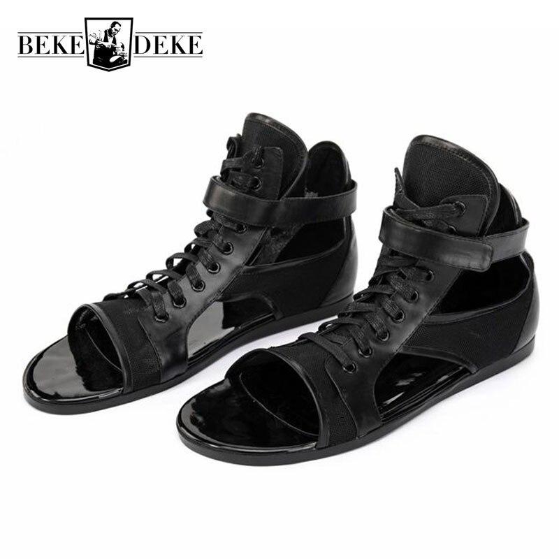 Высококачественные кожаные сандалии для мужчин; персонализированные черные сандалии гладиаторы на шнуровке для улицы; брендовые кроссовк