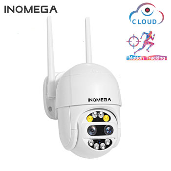 INQMEGA Dual-Lens PTZ Speed Dome Camera 1080P Wifi Camera Outdoor Auto Tracking Cloud CCTV Home Security IP Camera 2MP 4X Zoom hd 1080p outdoor wifi tracking camera cloud storage home security ptz ip camera auto speed dome 2mp camera wireles with tf card