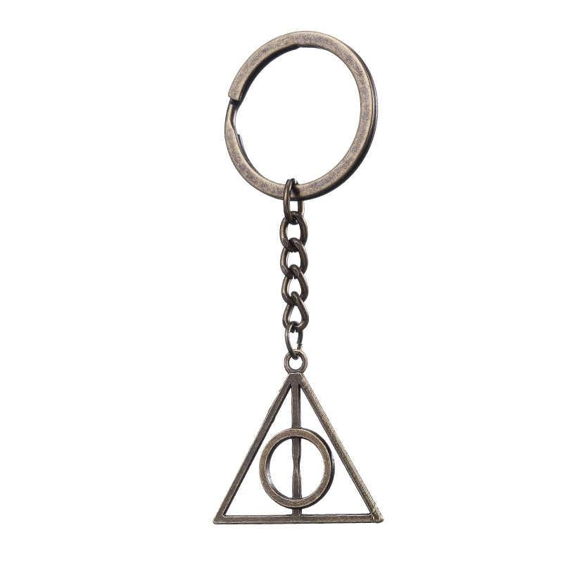 Moda Jóias Vinatge Bronze Prata Charme Potter Deathly Hallows Cadeia Chave Chaveiro Chaveiro Para Homens E Mulheres Presentes