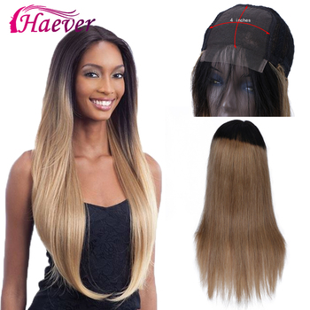 Haever 4x4 Closure Wig Ombre Human Hair Wigs For Black Women 1B/27 Deep Burgundy Lace Closure Wig Remy Brazilian Straight Wig