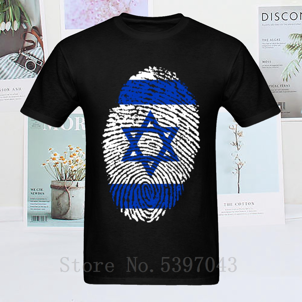 <font><b>T</b></font> <font><b>Shirt</b></font> <font><b>Israel</b></font> Flag Fingerprint <font><b>T</b></font>-<font><b>Shirt</b></font> Men Tshirt Black Blue Hip Hop Tees Summer Tops 100% Cotton Clothing Geometric image