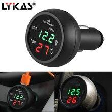 LYKAS Car USB Charger Voltmeter Thermometer 12v 24v Digital Voltage Temperature LED Display Cigarette Lighter