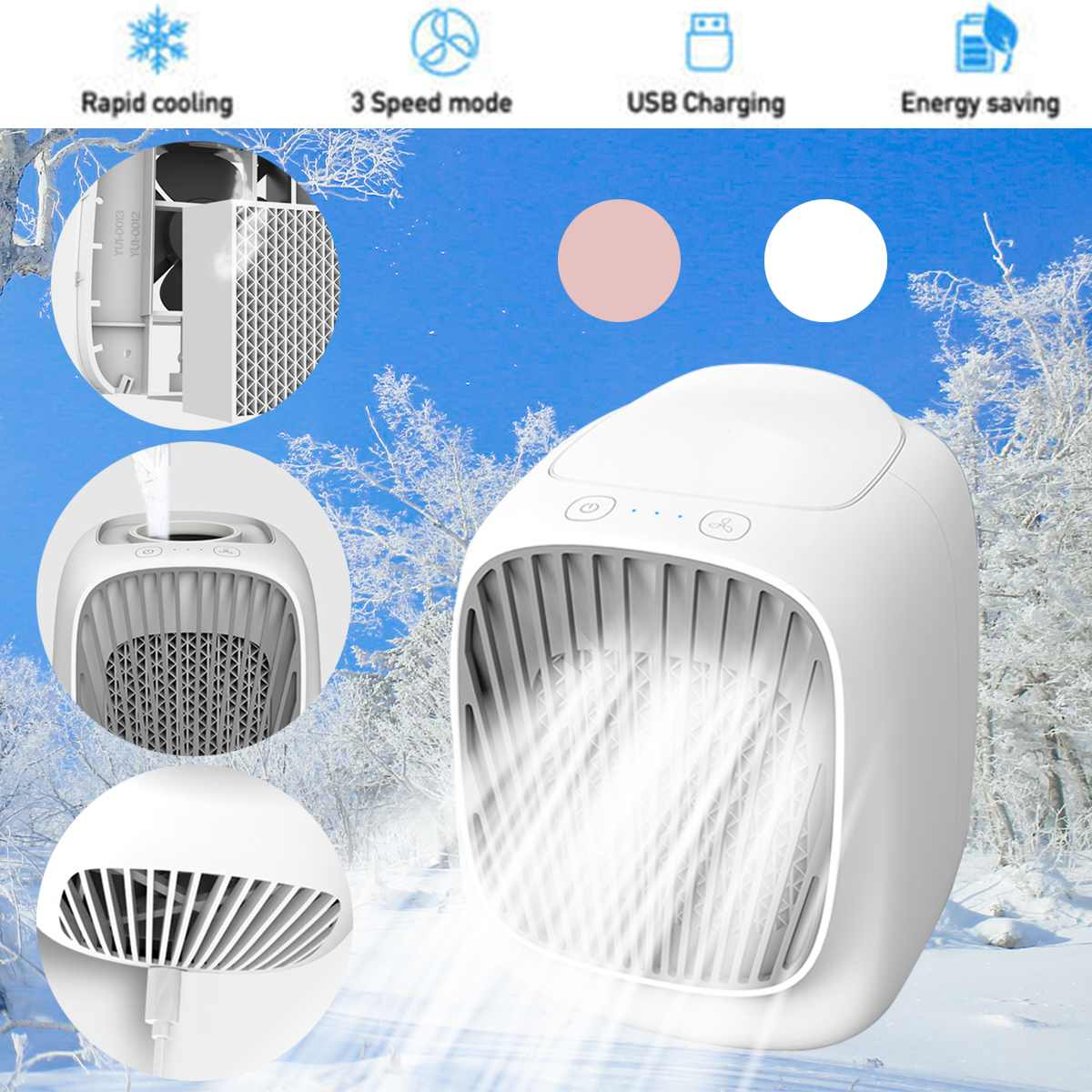 Portable Mini Air Conditioning Water Cooling Fan USB Air Humidifier Purifier Cooler Fan 3 Gear Cooling Fan For Home Office