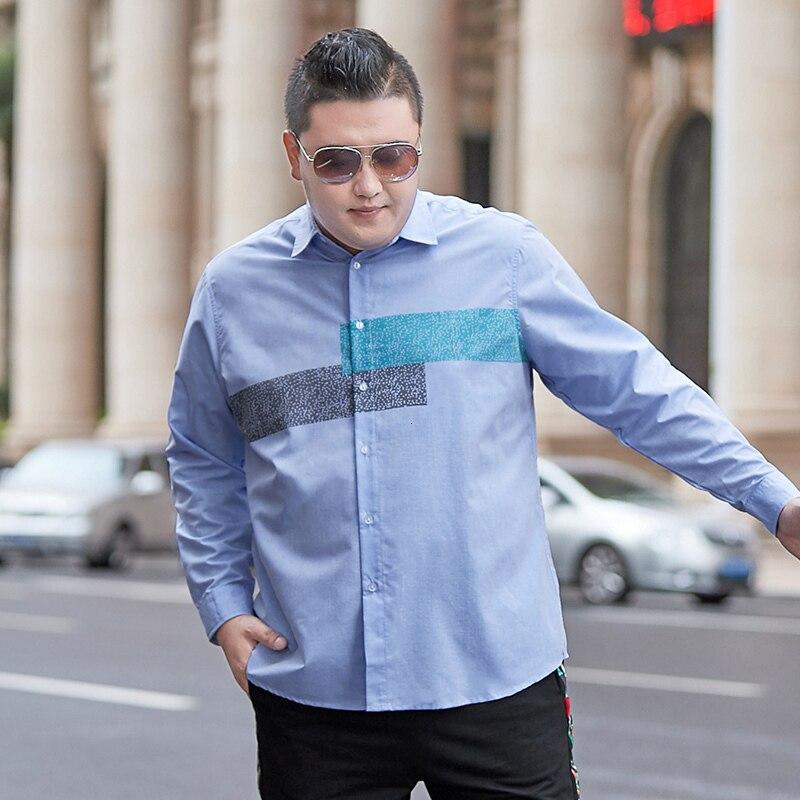Plus Size 8XL 7XL 6XL Men Shirt Long Sleeve Shirts Printing Men Dress Large 7XL 6XL Social Shirts Men Clothing Streetwear 145kg