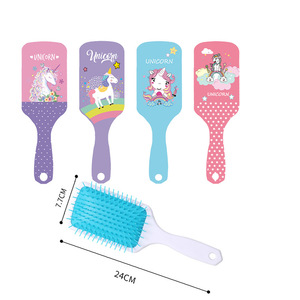 Image 2 - Cute Unicorn Animal Anti static Hair Brush Massage Comb Shower Wet Detangle Hair Brush Salon Hair Styling Tools Four Colors