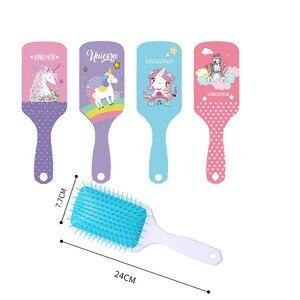 Image 2 - Escova de cabelo antiestática de unicórnio, escova de cabelo fofa para desembaraçar cabelos cores